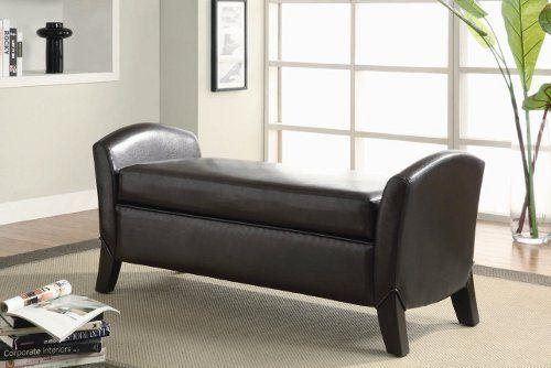 Northlake Upholstered Storage Bench Finish Dark Brown By