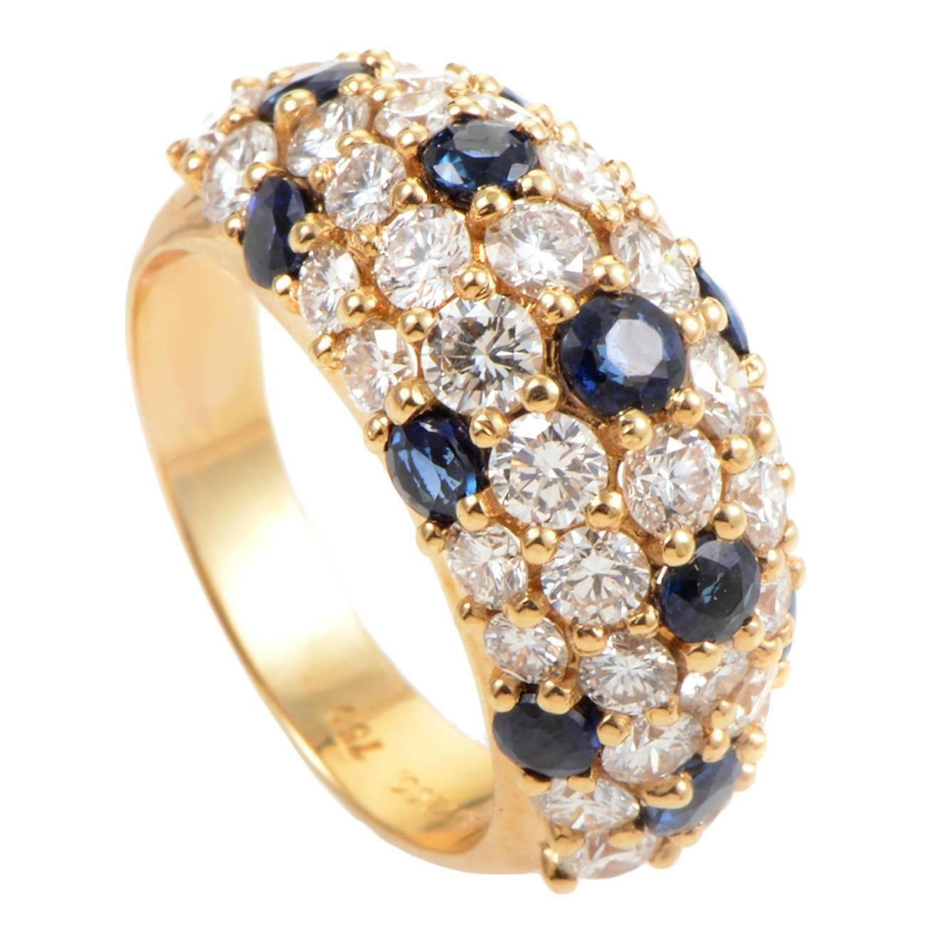 Tiffany & Co. sapphire diamond gold Band Ring   From a unique collection of vintage band rings at https://www.1stdibs.com/jewelry/rings/band-rings/