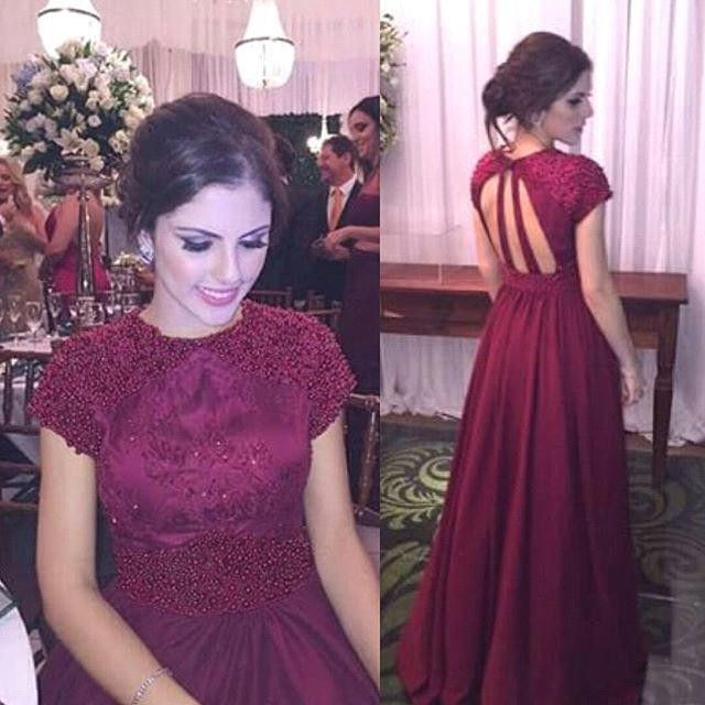 2017 Dark Burgundy Prom Dress Cap Sleeves Hollow Back with Embroideries  A Line Elegant Evening Dress Long Formal Gown