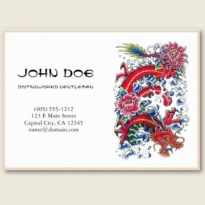Cool Oriental Japanese Red Dragon God Tattoo Business Card - Tattoo business card templates