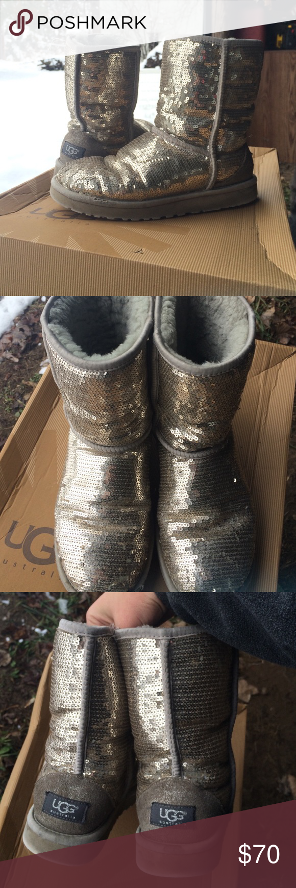 Sequenced uggs Dont like them as much as I thought I would used see pictures still in really good used condition thanks for looking! Box not included UGG Shoes Winter & Rain Boots