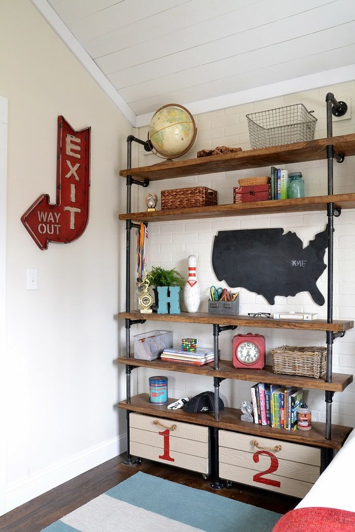 Industrial Shelves For A Boy S Room Boy S Room Kids Room Decor