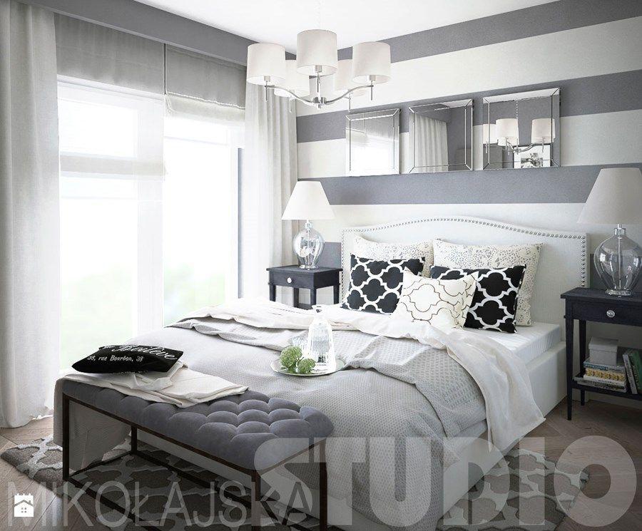 czrno biała sypialnia zdjęcie od MIKOŁAJSKAstudio