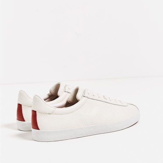 Image 4 Of Leather Plimsolls From Zara Lederschuhe Damen Sneaker Schuhe Kaufen