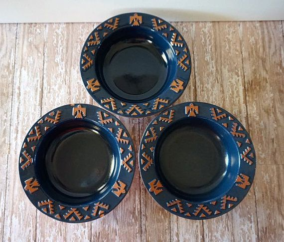 Discontinued Frankoma Native American Navy Blue Pottery Eagle ...