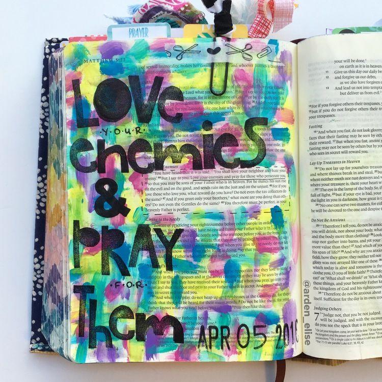 Bible journaling, Matthew 5:43-48 — Arden Ratcliff-Mann