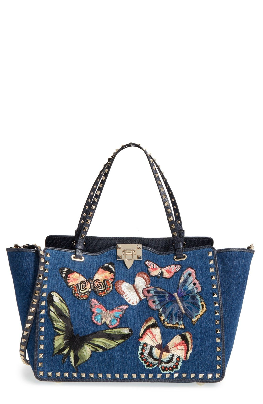 f81cf4a46aec This is a beauty! Valentino  Rockstud  Denim Butterfly Tote