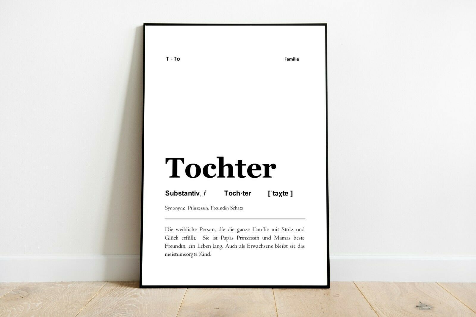 Tochter Definition Kunstdruck Poster Typografie Geschenk Familie