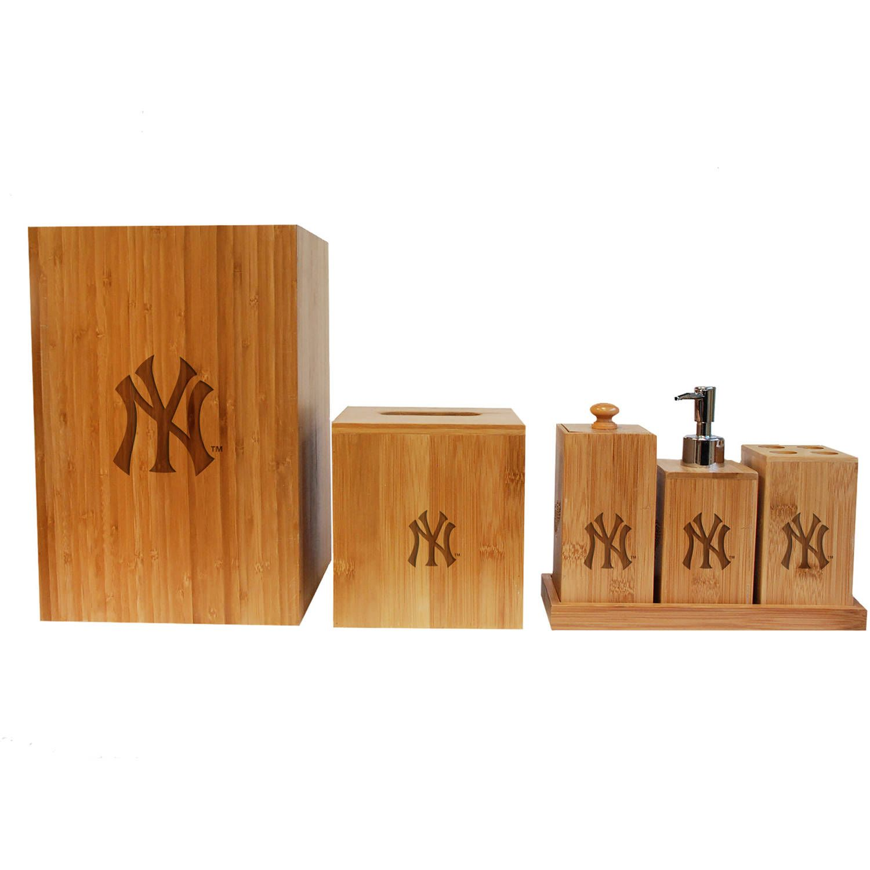 Free 2 Day Shipping Buy Mlb New York Yankees Engraved Full Bathroom Set At Walmart Com Bamboo Bathroom Accessories Bamboo Bathroom Bathroom Accessory Set Ny yankees bathroom decor