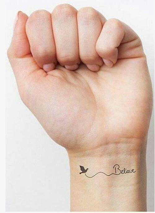 Believe Mano Brazo Palabras Letra Tatuajes Pequeños Tatuajes