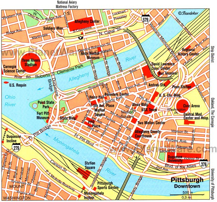 Downtown Pittsburgh Map Pittsburgh (Downtown) Map   Tourist Attractions | Pittsburgh in  Downtown Pittsburgh Map