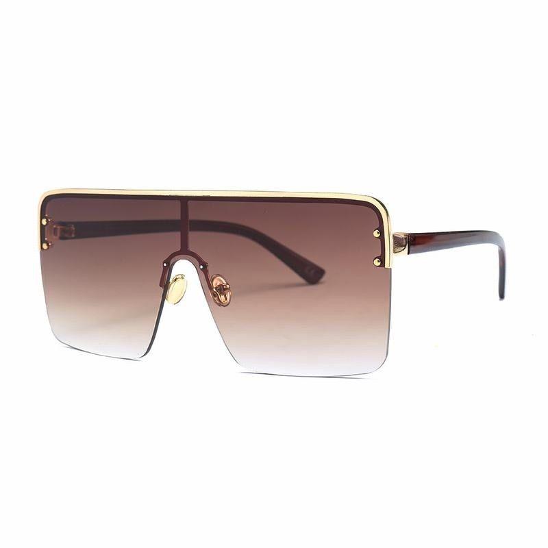 4f68ca7a1c Semi Rimless Oversized Big Frame Square Sunglasses Women Retro Flat Lens  UV400  fashion  clothing