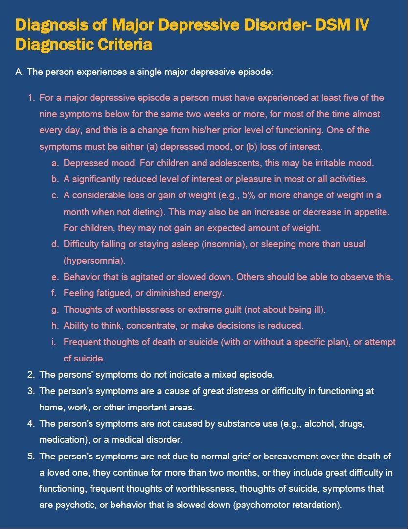 Diagnosis of major depressive disorder dsm iv criteria e book dsm iv toneelgroepblik Choice Image