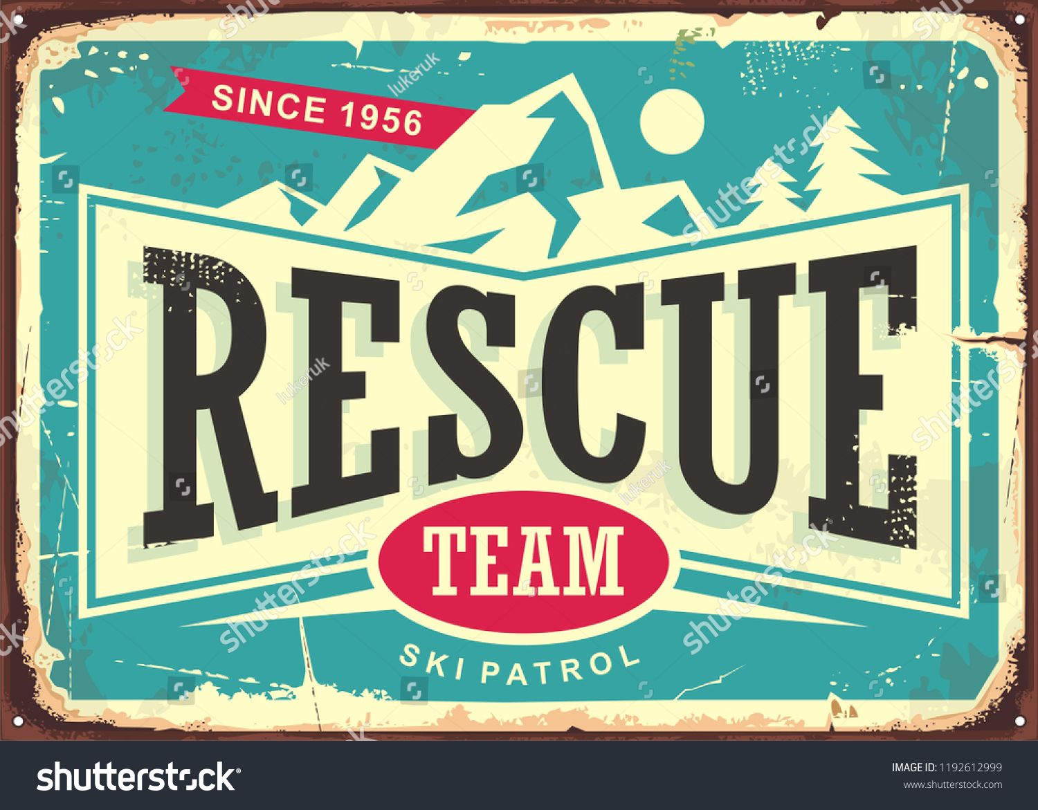 Rescue team vintage old sign for ski patrol. Retro poster for first aid service on mountain ski trails. Vector illustration. ,