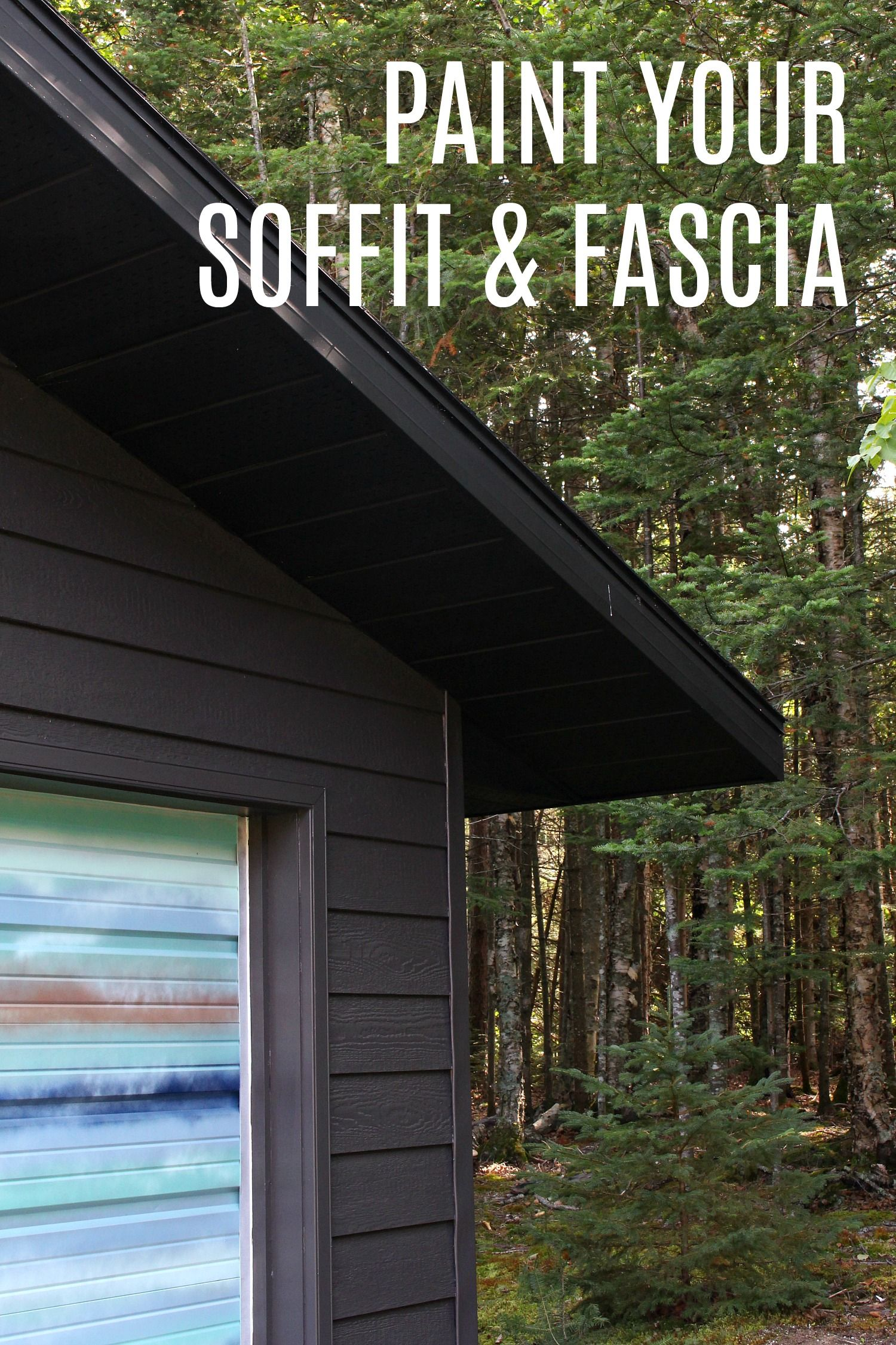 Garage Makeover DIY Painted Soffit and Fascia Garage