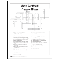 Ada Mouth Healthy Kids Crossword Puzzles More Kids Crossword Puzzles Smile Program Crossword Puzzle