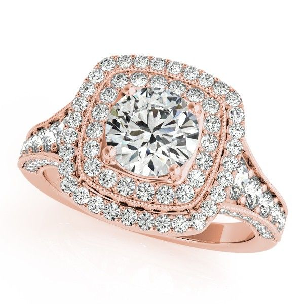 Square Double Halo Diamond Engagement Ring 14k Rose Gold 2 00ct In