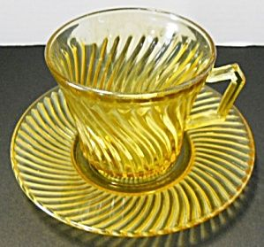 Amber Diana Depression Cup and Saucer