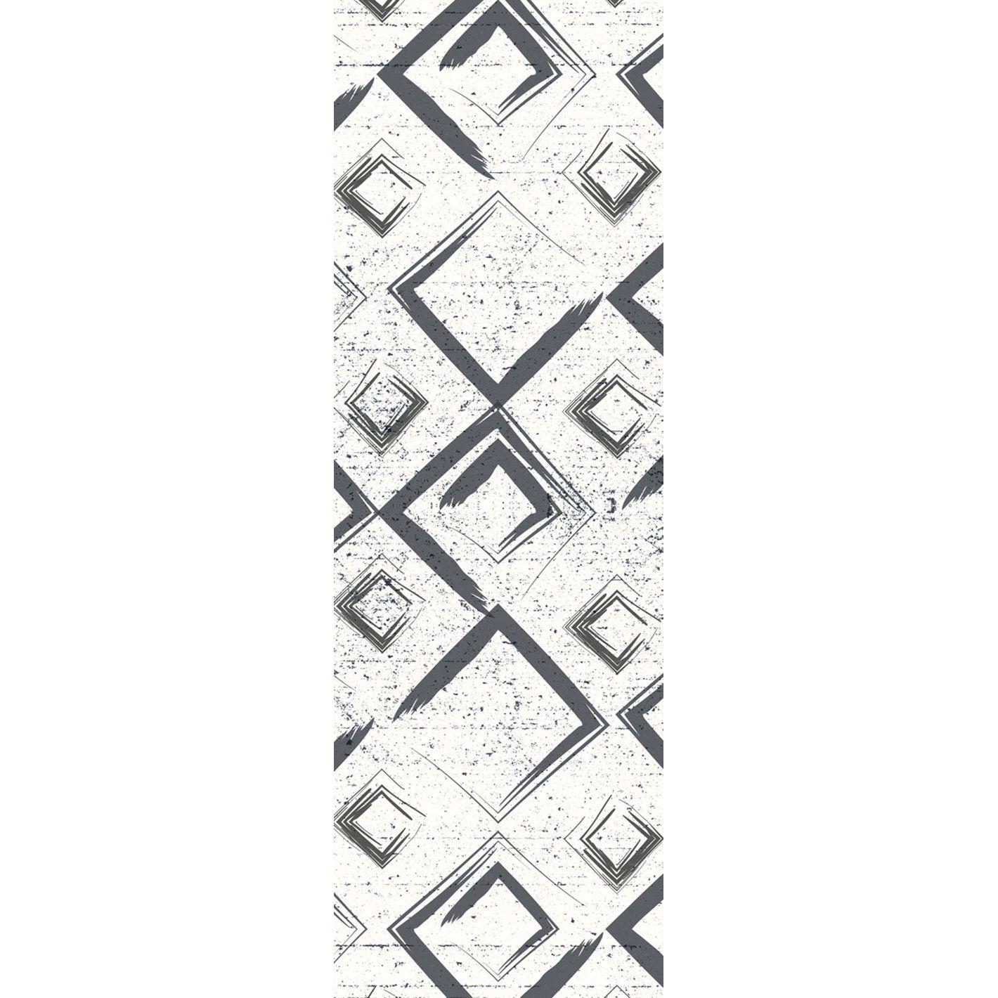 Photo of Sketched Diamonds Vinyl Runner Rug – White / 30 x 7'