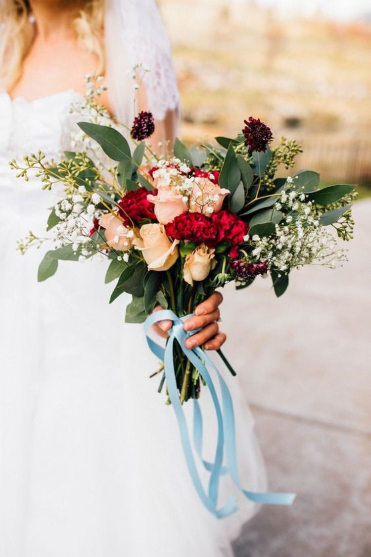 Dusty Blue And Burgundy Deep Red Wedding Color Ideas Weddings