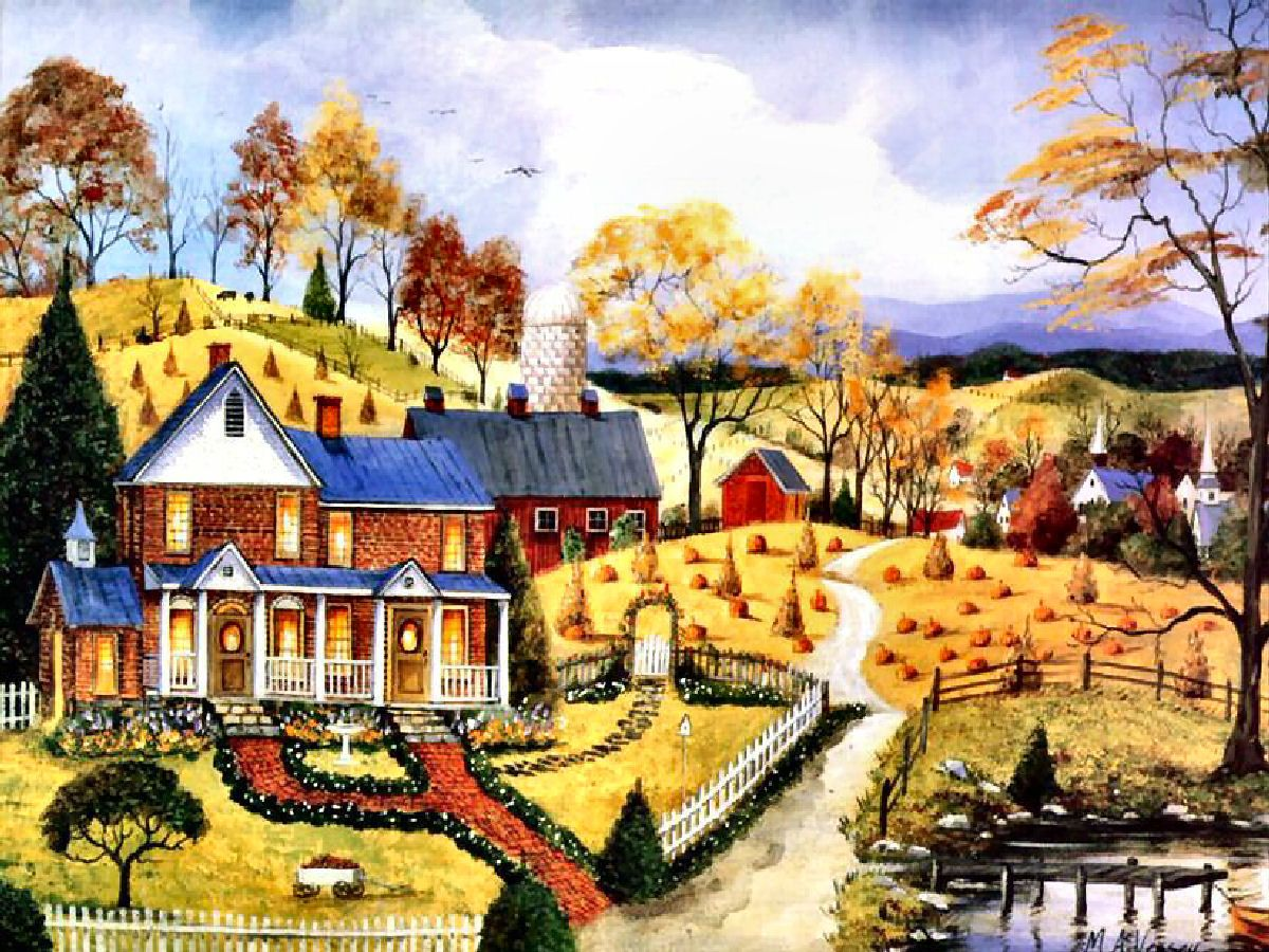 Autumn Village Mary Ann Vessey Art Americana♡folk