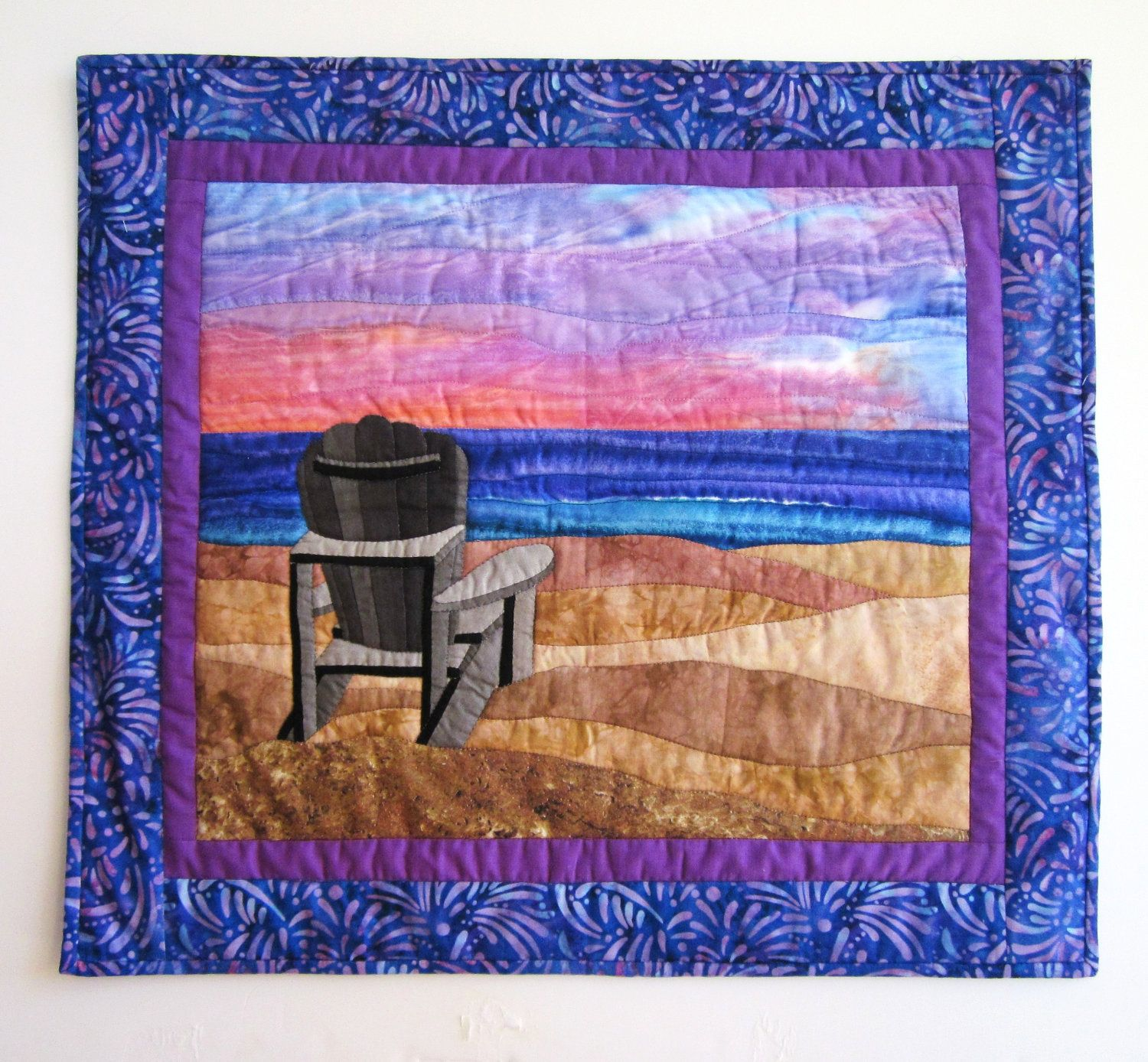 Wall Hanging Quilts quilted wall hanging sunset beach scene -- alzheimer's awareness