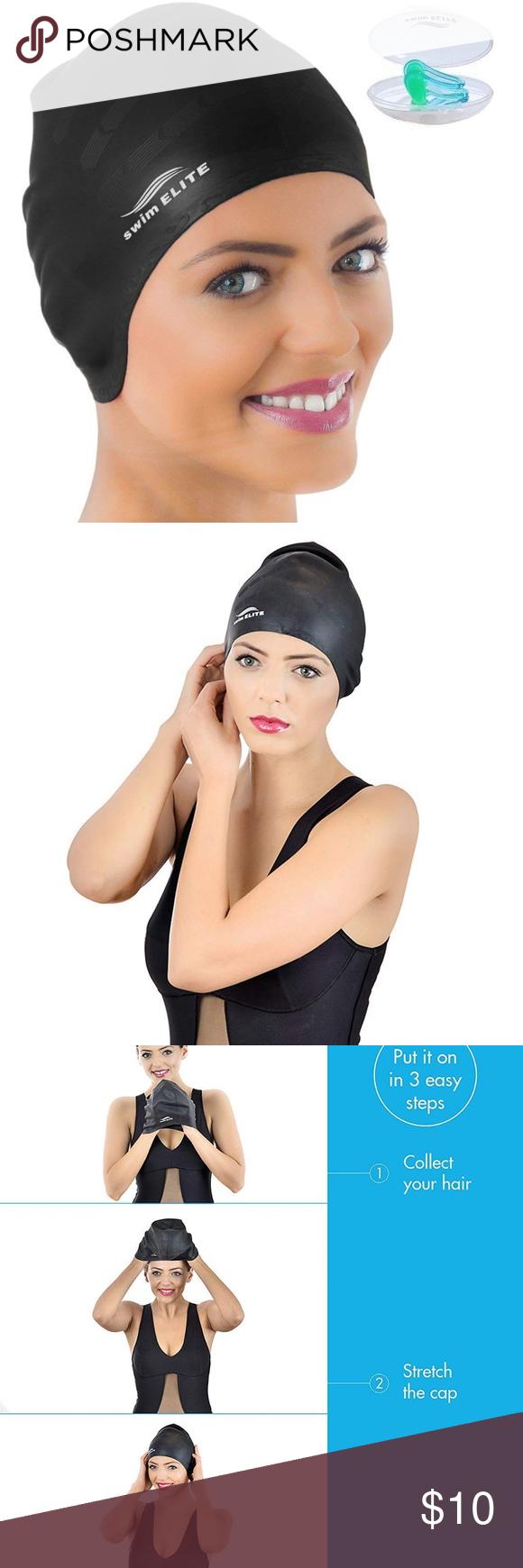Swim Cap For Long Hair Or Women Men Black Swim Cap For Long Hair Silicone Swimcap For Long Hair Swimming Caps For W Long Hair Styles Women Fashion Tips