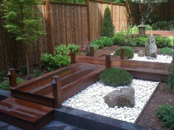 exotic garden design bamboo fence wood paths garden rocks japanese style garden