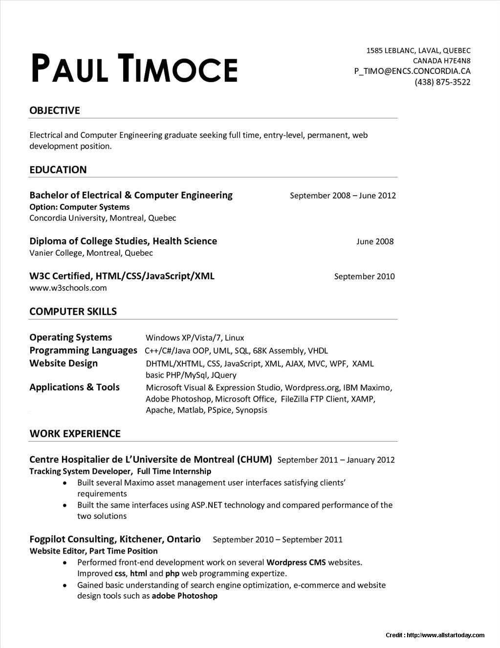 Resume Templates Quebec Resume Templates Engineering Resume Mechanical Engineer Resume Resume Writing Examples