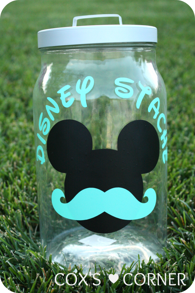 """This is so cute! Create a Disney """"stache"""" jar to save up for you trip."""