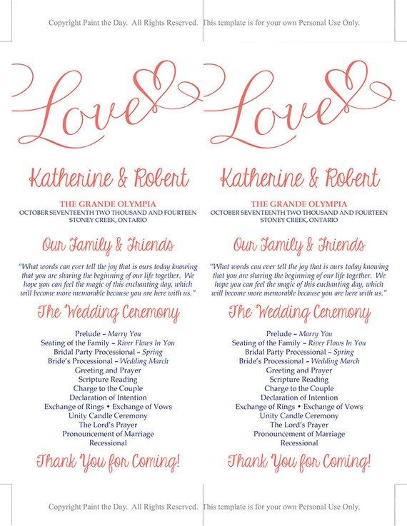 DIY Wedding Program Template Heart Wedding Program Grapefruit Navy
