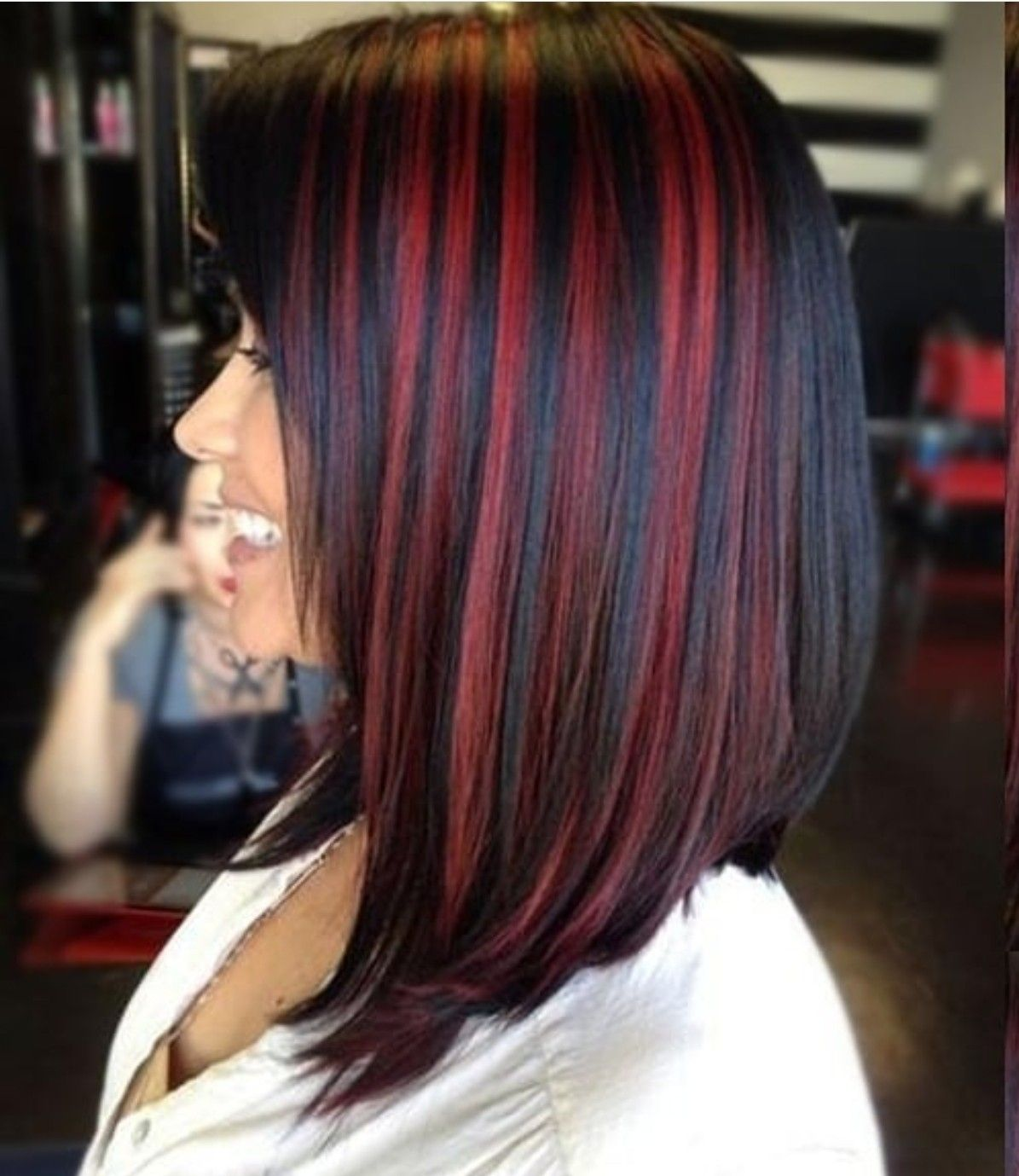 Red Streaks Hair Color For Black Hair Black Red Hair Black Hair With Highlights