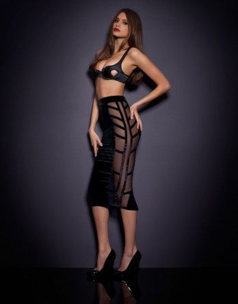 9afe7750cb Ivana Skirt  790 Encase your curves in the ultimate pencil skirt  made of  silk velvet and with daring sheer panels of stretch tulle