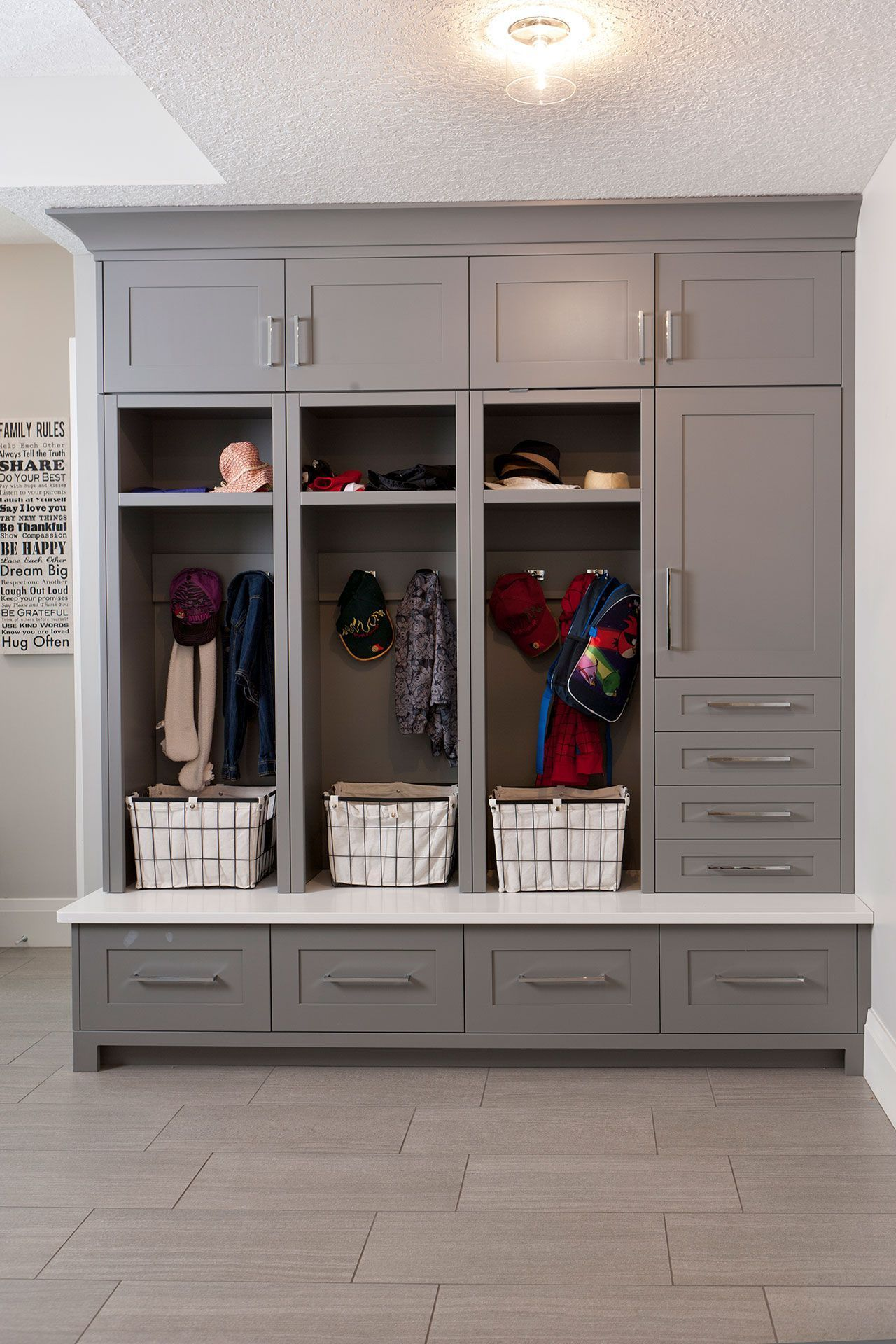 Mudroom Cabinets, Mudroom Organization, Mudroom Storage, Cubby Cabinets,  Grey Cabinetry, Modern