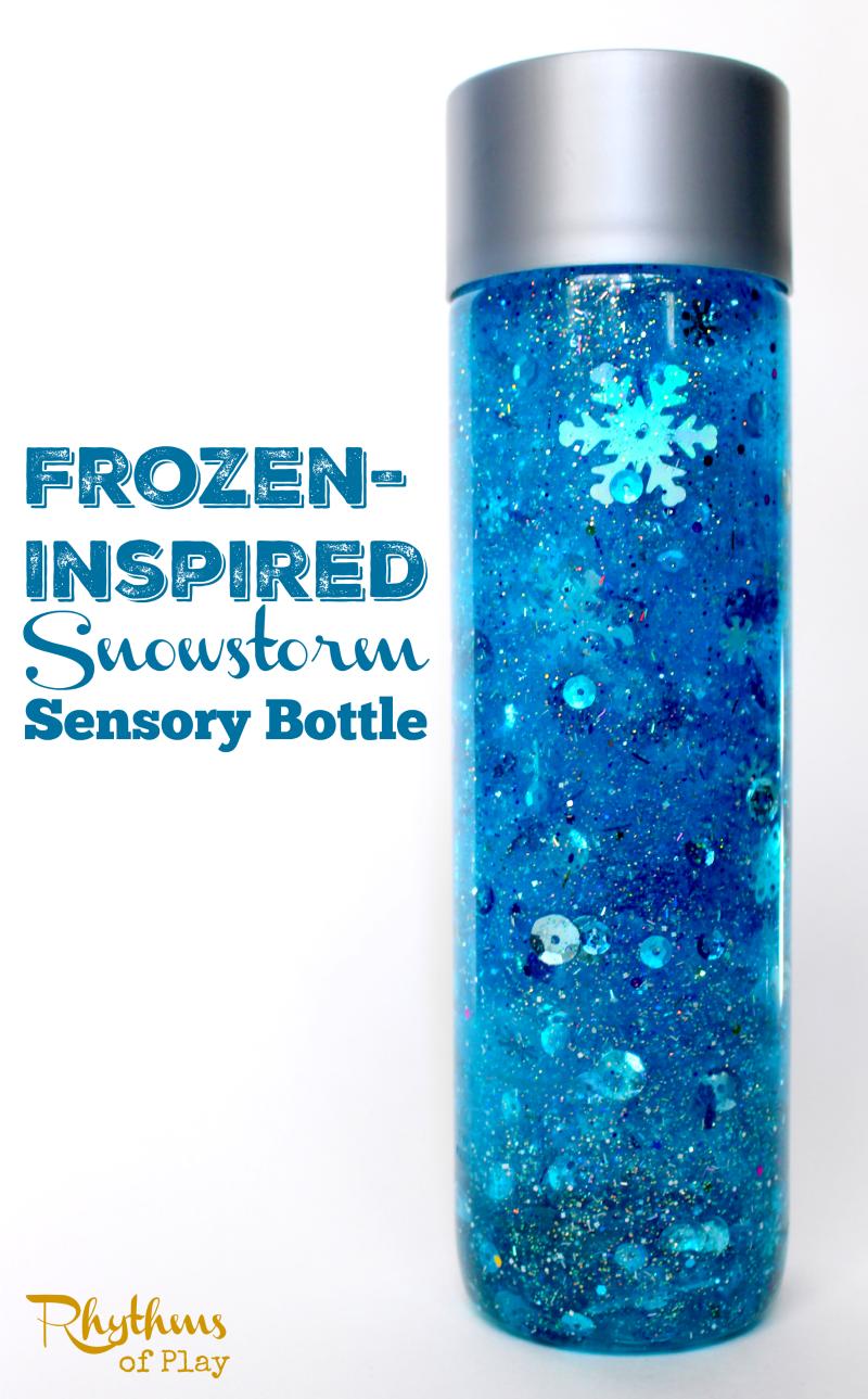 DIY Frozen-Inspired Snowstorm Glitter Sensory Bottle - VIDEO #sensorybottles