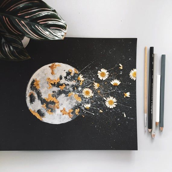 This is a print of my original Dark Night watercolor moon painting. Each print is hand-embellished with gold leafing and real pressed flowers (some of which I picked myself!). Each print is embellished by hand, meaning each one is unique in its own way! Size: 8x10 inches Packaging is recyclable