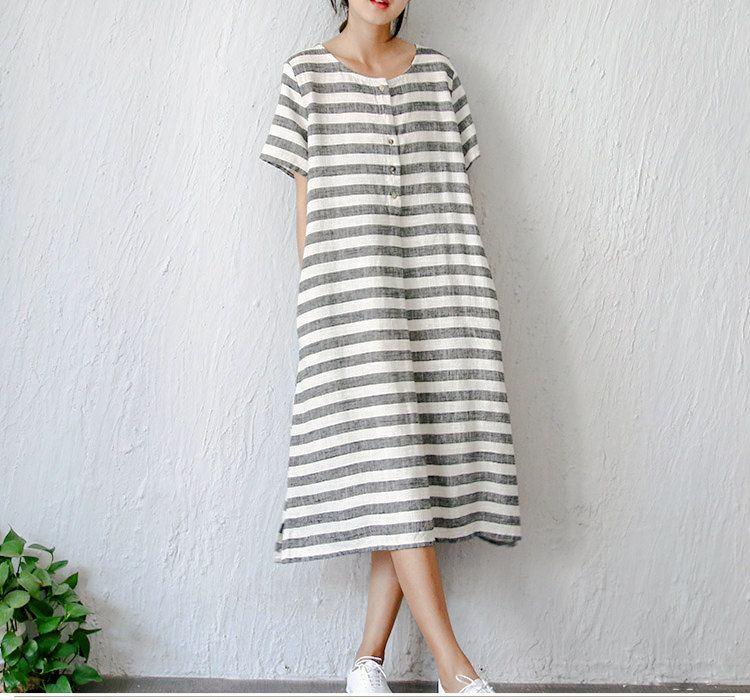 66eb7580f58f8 Women's vintage elegant fresh loose stripe linen one-piece dress (59.00  USD) by complus