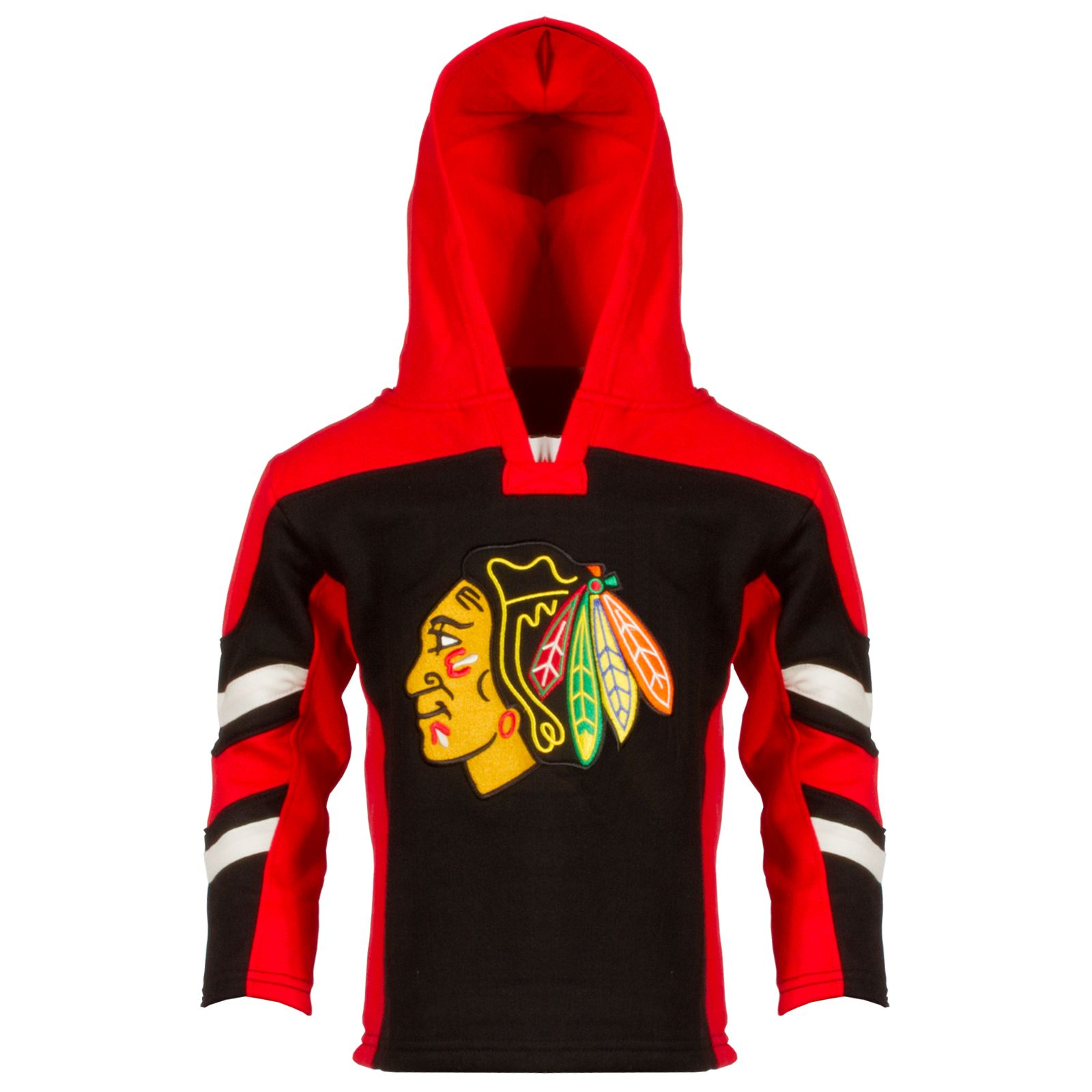 Chicago Blackhawks Toddler Red and Black Striped Primary Logo Hoodie by Old Time Hockey #Chicago #Blackhawks #ChicagoBlackhawks