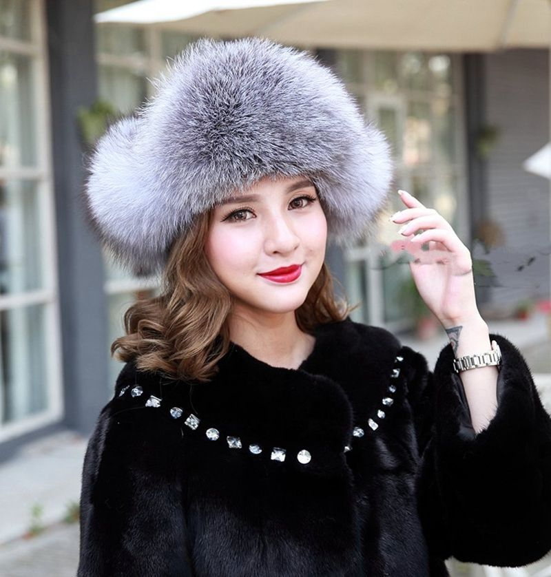 91e6fc97817f7 Women Real Fox Fur Hat Russian Style Winter Warm Earflap Cap Snow Hats Women