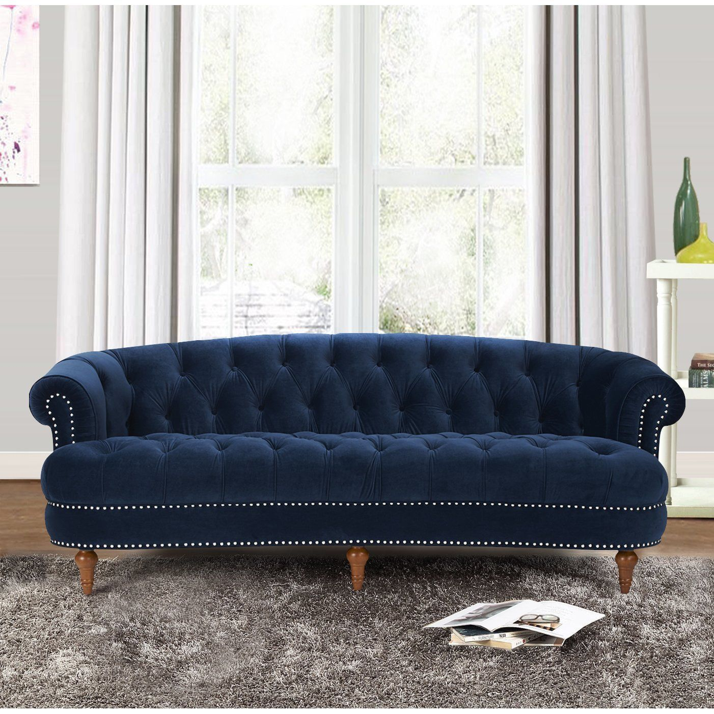 Sofa On Sale Ebay Royal Blue Grand Chesterfield Velvet Sofa Nail Heads Accent 85 L