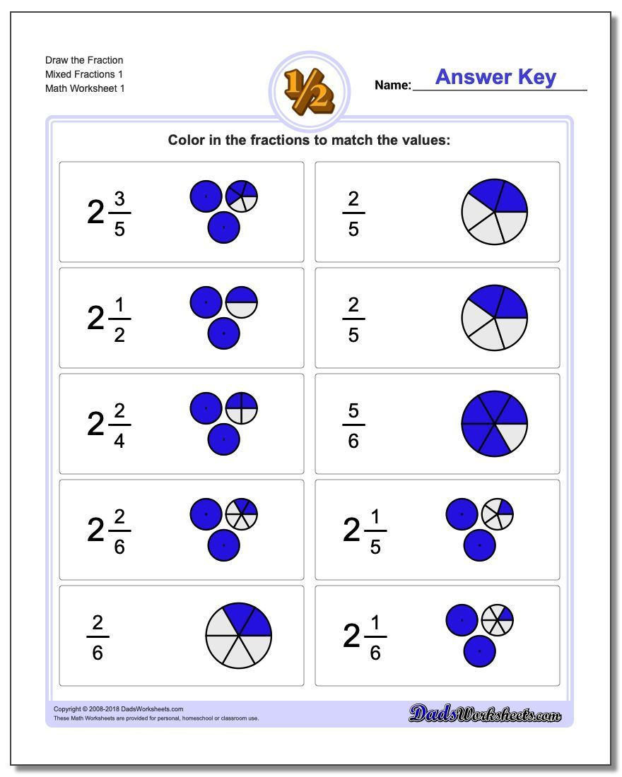 Our Draw Fractions With Help Worksheets Provide Help In The Form