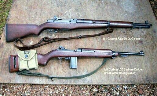 Top M1 Garand 30 08 caliber Bottom M1 Carbine  30 caliber