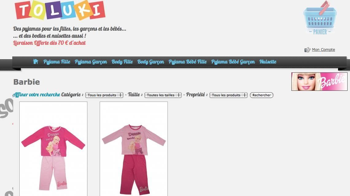 Pour vos petites Princesse. Notre gamme de pyjamas Barbie. http://www.toluki.com/lic.php?id=7 #Toluki #Barbie