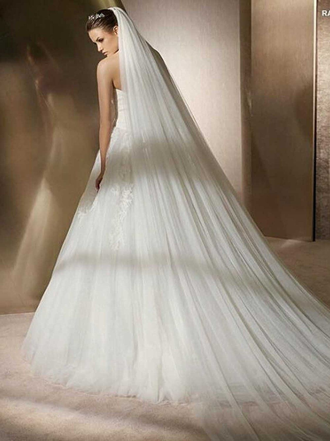 3 Meters Cathedral Ivory Wedding Bridal Veils Long Single Veil With Comb White Elegant Accessories Cheap In Stock
