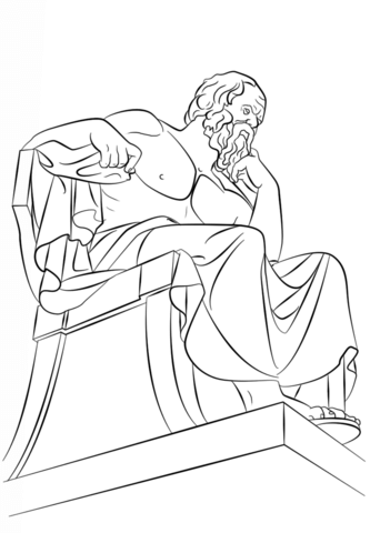 Statue Of Socrates In Athens Greece Coloring Page Free Printable Coloring Pages Line Art Drawings Coloring Pages Drawings