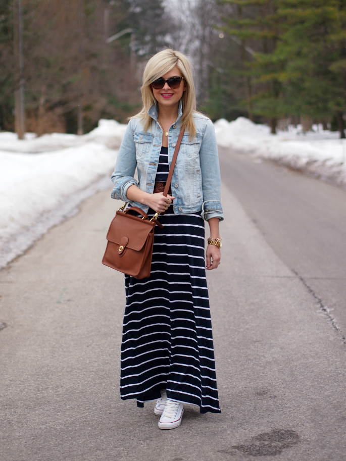 Stripes maxi, denim jacket, white converse.. #casualmodest
