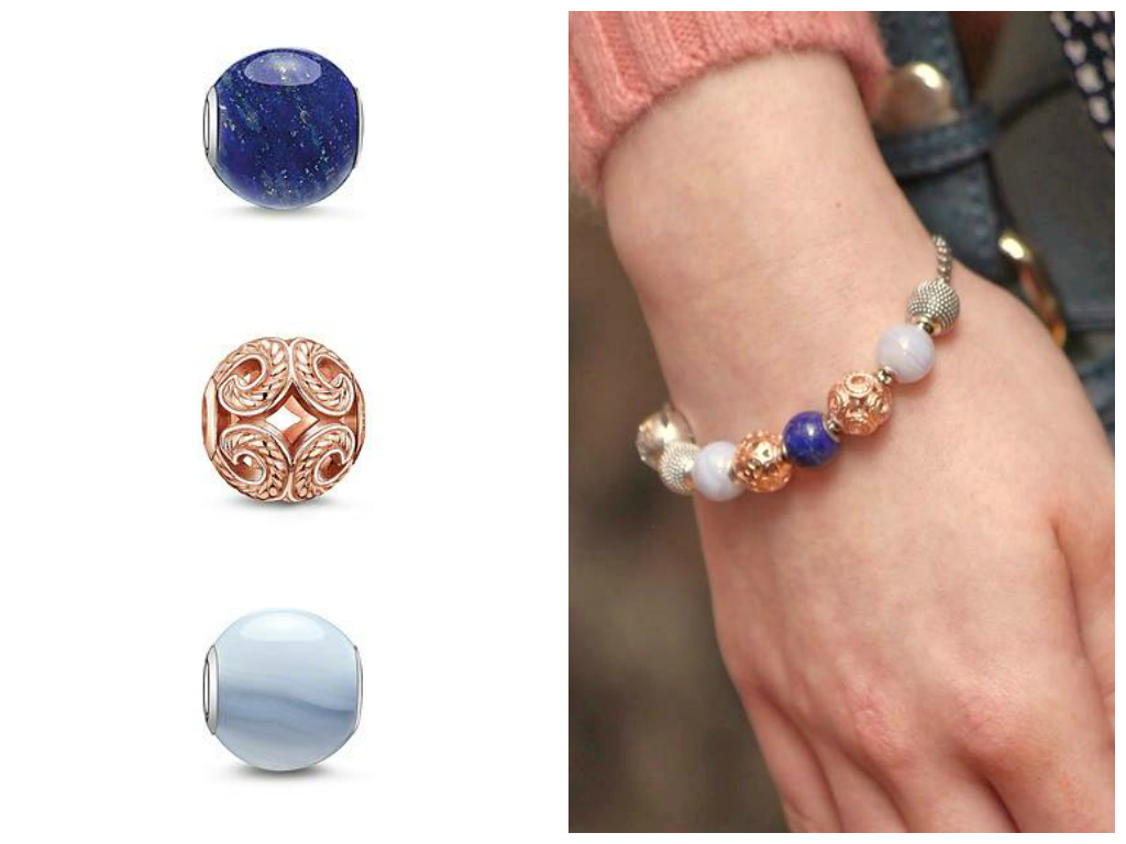 Karma Beads Bracelet With Lapis Lazuli Blue Chalcedony