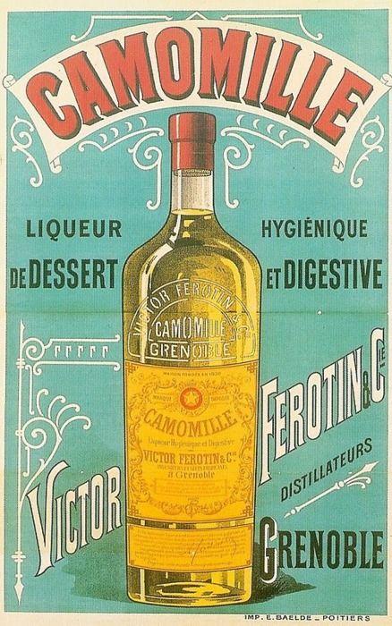 camomille liqueur digestif alcohol vintage poster vieille affiche publicitaire d 39 alcool. Black Bedroom Furniture Sets. Home Design Ideas