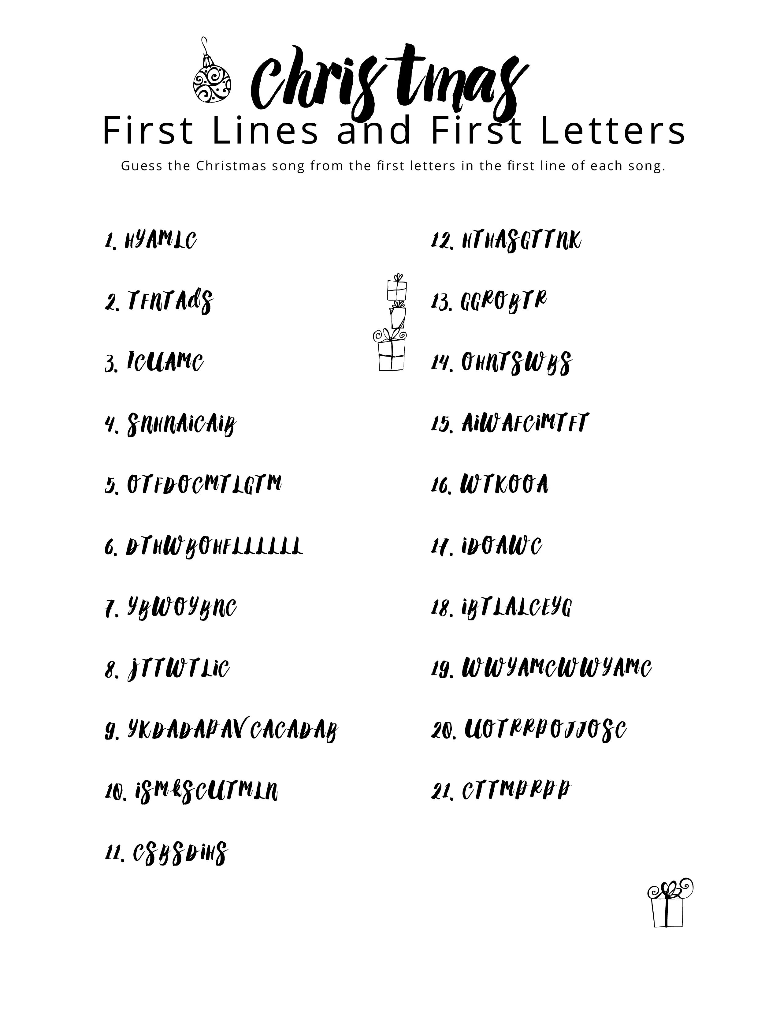 Christmas First Lines And First Letters