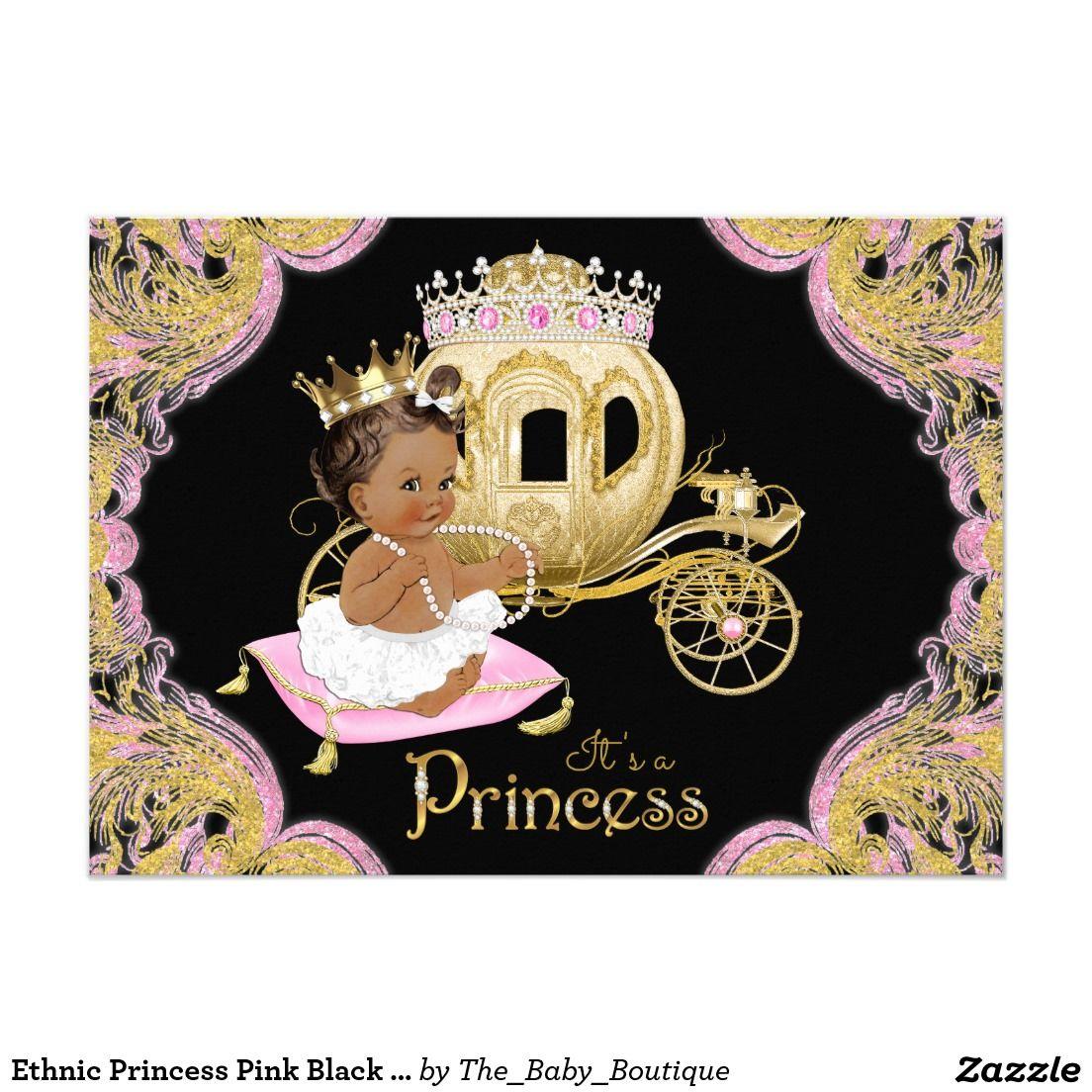 Ethnic Princess Pink Black Baby Shower Invitations | Ethnic Girl ...